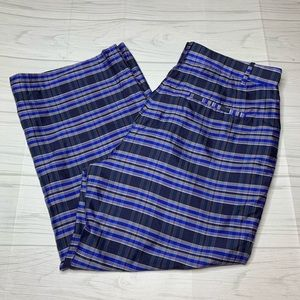 J.Crew Collection Blue Plaid Cropped Silk Pant